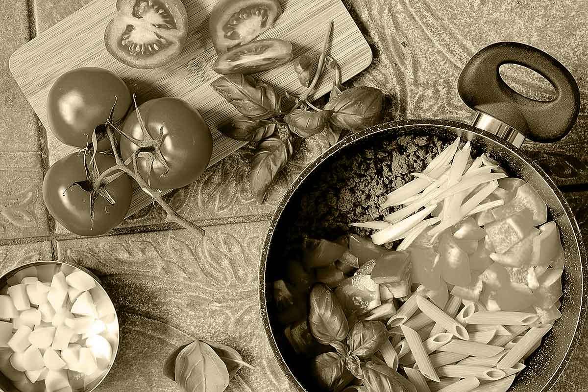 pasta in padella e verdure